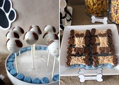 Rice Krispie treat dog bones dipped in chocolate- maybe make them peanut butter?