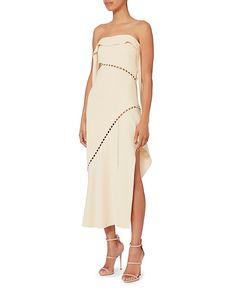 Jonathan Simkhai Pearl Studded Strapless Dress