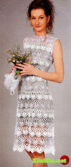 Бело-серое платье крючком