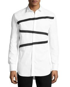 NEIL BARRETT TRIPLE TAPE-STRIPE SHIRT, WHITE. #neilbarrett #cloth #