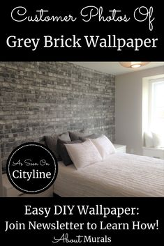 Watch this grey brick wallpaper on Cityline with Brian Gluckstein and then see it on real customer's walls! Brick Wallpaper Bedroom, Faux Brick Wallpaper, How To Hang Wallpaper, Diy Wallpaper, Hanging Wallpaper, Brick Wallpaper Black And White, Grey Brick, Old Bricks, Gray Bedroom