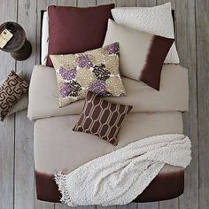 SECOND BEDROOM- Coloring? Wine/White/Beige. Layered Bed Looks - Dipped Raisin #WilliamsSonoma
