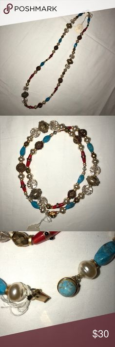 """Vintage necklace Vintage necklace. If you are looking for that unique and unusual piece to wear or makeover look no further. Colorful necklace of red, blue, gold and white. Approximately 15.5"""" Long. Jewelry Necklaces"""
