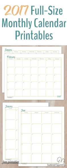 These 2017 Dated Monthly Calendar printables will come in handy if you have some long term planning to do. Two different sets feature calendars in full-size (US Letter paper) one is a single page per month layout, the other is a two page per month layout, to fit your planning needs.