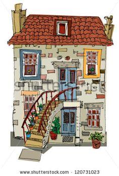 vintage facade - Edinburgh - cartoon by iralu, via ShutterStock