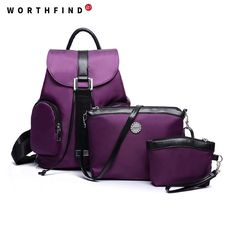 9cae0105fa03 WORTHFIND 2016 Newl 3 Pcs Set Nylon Women Backpack Lightweight Travel Bag  Colorful Shoulder Bags