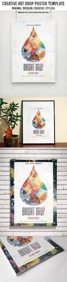 Creative Art Drop Poster Template — Photoshop PSD #indie music #music • Available here → https://graphicriver.net/item/creative-art-drop-poster-template/9325378?ref=pxcr