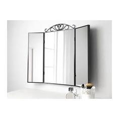 KARMSUND Table mirror IKEA It's easy to organize your jewelry thanks to the hooks behind the side mirrors. Shoe Rack Table, Shoe Racks, Chimney Breast, Pax Wardrobe, Black Table, Wall Brackets, Window Cleaner, Black Mirror, Mirrors