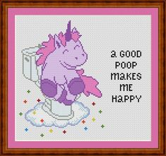 Unicorn Funny Cross Stitch PDF Pattern a good poop makes me happy
