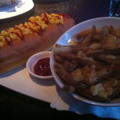 Mac n'Cheese footlong with poutine from Real Sports. Caloric count overdose...