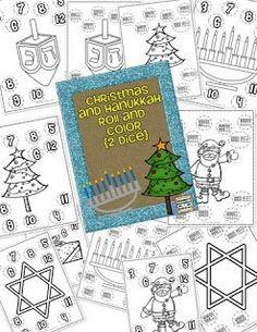 Freebie!  Dice roll és színes Hanuka és karácsonyi változata.