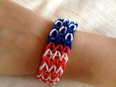 rainbow loom bracelet red white and blue - Google Search