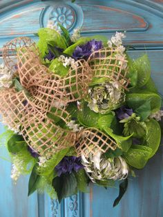 SPRING BOUQUET wreath with lime deco mesh by faucettandflame