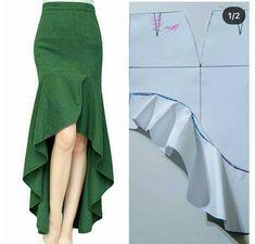 Corte e costura ( Skirt Patterns Sewing, Clothing Patterns, Sewing Clothes, Diy Clothes, Costura Fashion, Fashion Design Sketches, Pants Pattern, Fashion Sewing, Fashion Books