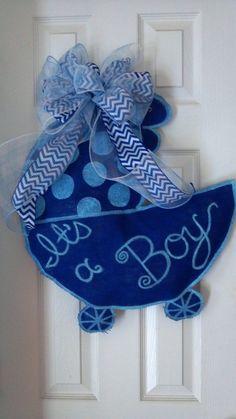 Welcome Baby Carriage Burlap Door Hanger