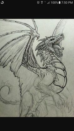 Dragon tattoo is one of the most popular mystical tattoos. - Dragon tattoo is one of the most popular mystical tattoos. Cool Dragon Drawings, Dragon Sketch, Dragon Artwork, Dragon Head Drawing, Awesome Drawings, Easy Drawings, Hot Dog Place, Vexx Art, Geometric Tatto