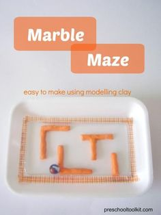 Preschool Toolkit - Marble maze kids can make with modelling clay *Would work great with the map in Buster! There are also three mazes available at the Buster activity page on www.denisefleming.com.