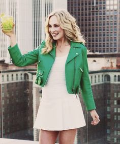 Candice Rene Accola (born May is an American actress, singer and songwriter, best known for her starring role as Caroline Forbes on The CW series, The Vampire Diaries. Caroline Forbes, Candice Accola, Nina Dobrev, Green Leather Jackets, Candice King, Short, Dress To Impress, Celebs, Street Style