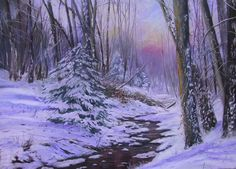 Winter Woods at Sunset
