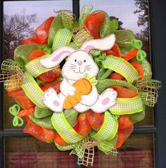 Easter+bunny+mesh+wreath+by+Redstickwreaths+on+Etsy,+$70.00