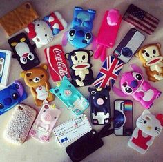 Pig , Stitch , Hello Kitty , Instagram , Penguin , American & British Flag , Mail & Bunny Cases