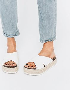 Asos collection asos further on espadrille mule flatforms Espadrilles, Crazy Shoes, Me Too Shoes, Mode Shoes, Walk In My Shoes, Outfit Trends, Summer Shoes, Summer Slippers, Asos
