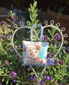 Patchwork Lavender Bags Decorated with button and 'Happy Birthday' ribbon trim. Finished with a hanging ribbon if you want to pop on a coat hanger. Beautiful Gifts, Planter Pots, Handmade Items, Invitations, Messages, Sewing, Scrappy Quilts, Dressmaking, Couture