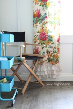 Love these vinyl floors from They look great in my farmhouse style home! Adore this colorful craft room with neutral and durable floors. Cute Curtains, Color Crafts, Vinyl Flooring, Farmhouse Style, Accent Chairs, Neutral, Valances, Floors, Room