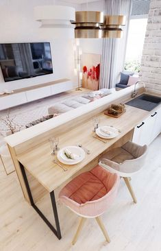 Amazing Small Apartment Interior Design Ideas Home Ideas Apartment Decorating On A Budget, Small Apartment Design, Small Room Design, Small Apartment Kitchen, Kitchen Small, Apartment Living, Kitchen Ideas, Open Kitchen And Living Room, White Apartment
