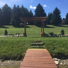 View from behind the trellis on the dock. The guests could sit behind the Bride and Groom for a beautiful outdoor ceremony if they choose. Outdoor Wedding Venues, Outdoor Ceremony, Pine Beds, Beautiful Sunrise, Lake View, Bed And Breakfast, Trellis, Hamilton, Groom