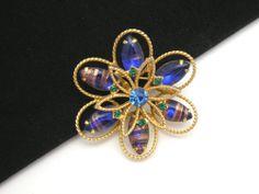Vintage Atomic Gold Foil Infused Art Glass Brooch Cabochon Blue Rhinestone Flower