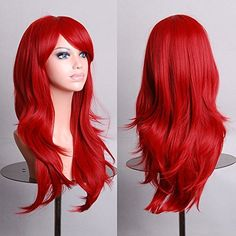 Long Curly Wig Kinky Curly Cosplay Party Costume Hair with Hairnet (Red) - Accessories, Hair Replacement Wigs, Curly # # Long Hair Wigs, Curly Wigs, Long Curly Hair, Curly Hair Styles, Cheap Cosplay Wigs, Hair Colorful, Colorful Party, Anime Wigs, Anime Hair
