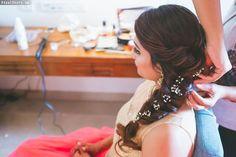 braided hairstyle , side braid , loose fishtail braid ,babys breath in hair , flowers in hair Mehndi Hairstyles, Side Braid Hairstyles, Indian Bridal Hairstyles, Bride Hairstyles, Trendy Hairstyles, Hair Updo, Engagement Hairstyles, Woman Hairstyles, Bridal Bun
