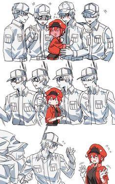 As someone who also read the manga before watching the anime, I realized how our Hakkekyu-san apologizes first to Sekkekyu-san before leaping into action Comic Anime, Otaku Anime, Manga Anime, Cartoon As Anime, Fan Art Anime, Anime Love, Blood Anime, White Blood Cells, Estilo Anime