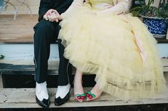 love the bride's cherry shoes from Vivienne Westwood