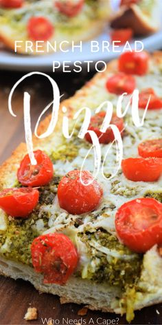 French Bread Pesto Pizza is such a flavorful meal option! So easy to make with jarred pesto, it makes a great appetizer or light dinner. #easydinner #frenchbreadpizza #pesto