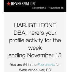 Another thank you to fans of HGOHD MUSIC: HARJGTHEONE DBA - ALBUM #4 this week , over 6 months in top 10 local, #20 regional , 37 Nationally in Canada #HGOHD #HARJGTHEONE #HARJGTHEONEDBA @bbcmusic @applemusic HGOHD.com @reverbnation