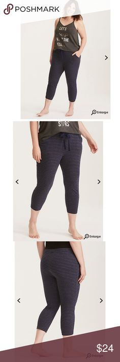 """Torrid 5x Sleep Striped Crop Pajama Pants Whether you're bingeing a TV show or catching up on your beauty sleep, these navy and charcoal striped knit pajama pants will keep you comfy. The crop leg cools you off, while the adjustable drawstring waist lets you decide how lazy you want to get. 22"""" inseamCottonWash cold, dry lowImported plus size sleep pants  Shirt not available, just the pants :) lightly used, worn a few times. No flaws torrid Intimates & Sleepwear Pajamas"""