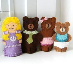 Goldilocks and the Three Bears Felt Finger Puppet Set. $41.00, via Etsy.