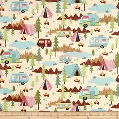 Timeless Treasures Camping Allover Cream from @fabricdotcom  Designed by for, this cotton print is perfect for quilting, apparel and home decor accents.  Colors include cream, tan, brown, green, pink, yellow, aqua, orange, black and grey.