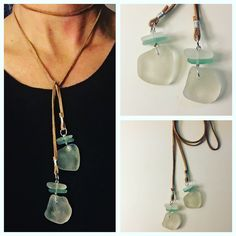 A personal favorite from my Etsy shop https://www.etsy.com/listing/498101199/seaglass-lariat-necklace-on-brown-suede