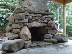 Outdoor rustic stone firepit | Rustic Outdoor Fireplace Design Ideas, Pictures, Remodel, and Decor