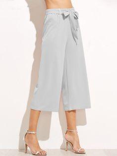 Pantaloni Larghi Con Nodo - Grigio