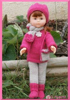Tenue d'hiver rose et beige pour les poupées Chéries