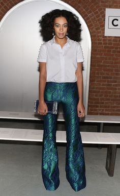 Solange Knowles's Wes Gordon Fall 2014 Show Acanthus Green Lapis Filigree Brocade Flare Pants