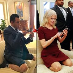 Is it too soon to call Conwaying the new Tebowing? Kal Penn joins a new meme movement spoofing Kellyanne Conway's Oval Office couch photo from the set of ABC's Designated Survivor.