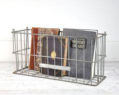 Vintage Large Metal Basket Storage Bin Milk Crate door HavenVintage
