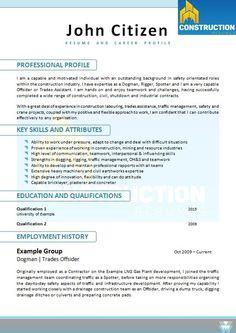Construction Resumes Executive Resume