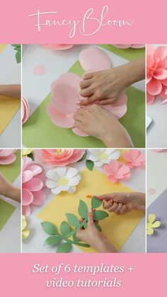 The complete set of 5 paper flower templates (plus leaves templates) and step-by-step video tutorials to easily create your own paper flower backdrop really fast. You can make this beautiful backdrop really fast with FancyBloom! Paper flowers, paper flowers backdrop, paper flower tutorial, svg paper flower templates #paperflowerbackdrop #paperflowers Diy Cardstock Flowers, Crepe Paper Flowers Tutorial, How To Make Paper Flowers, Paper Flowers Craft, Large Paper Flowers, Paper Flower Wall, Flower Crafts, Diy Flowers, Paper Crafts