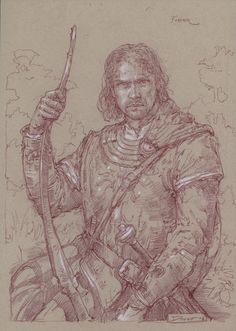 """Faramir in Ithilien""      10"" x 14"" colored pencil on toned paper  © 2006 Donato Giancola    private collection"